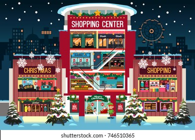 A vector illustration of Shopping Mall During Christma