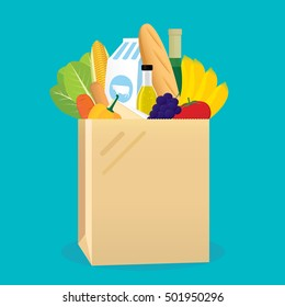 Vector illustration of shopping paper bag with groceries products.