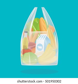 Vector illustration of shopping plastic bag with groceries products.