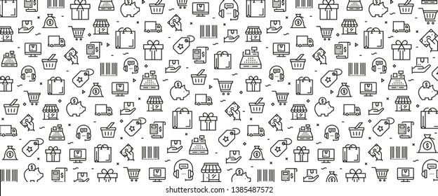VECTOR ILLUSTRATION OF SHOPPING AND RETAIL ICON CONCEPT