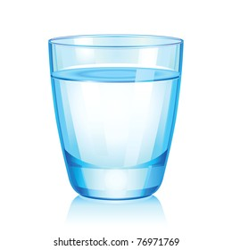 Vector illustration of short glass with water.