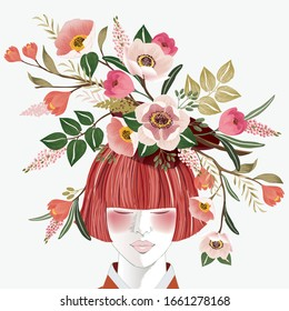 Vector illustration of a short-haired girl with flowers on her head, Korean traditional container decorating with flowers. Design for picture frame, poster, greeting card, and invitation