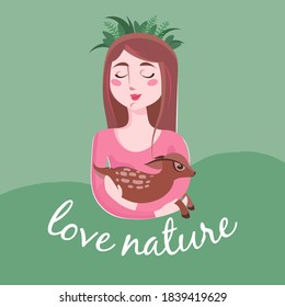 a vector illustration showing cute characters: lovely girl with long brown hair in pink sweater and  wreath holding a fawn on her hands