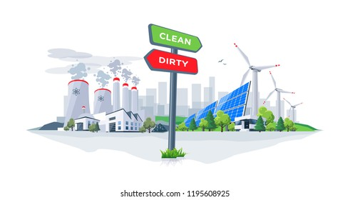 Vector illustration showing directional sign to clean or dirty electricity factory production. Polluting fossil thermal coal power plant versus clean solar panels and wind turbines renewable energy.