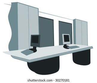 Vector illustration showing the inside of an office