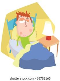 vector illustration showing a sick boy