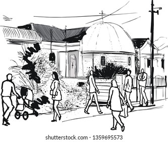Vector illustration showing street scene in Petone New Zealand with old Greek orthodox church and pedestrians.