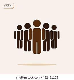 Vector illustration showing teamwork. Business concept. Sign and symbol