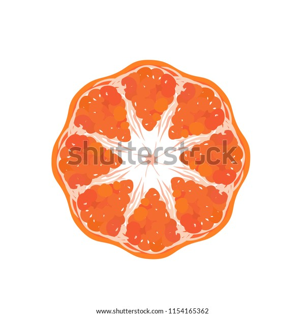 Vector illustration showing top view of an orange or tangerine cut in half  showing a star in its cross section