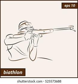 Vector illustration. Illustration shows a biathlete shoots from a rifle. Winter sports. Biathlon
