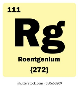 Vector illustration. Illustration shows a chemical element Roentgenium. Group of transition metal