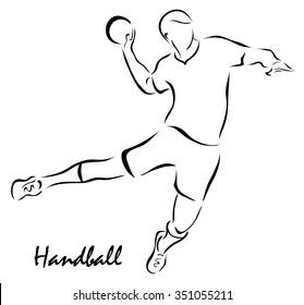 Vector illustration. Illustration shows a kind of sport. Handball