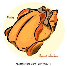 Vector illustration. Illustration shows a roast chicken?