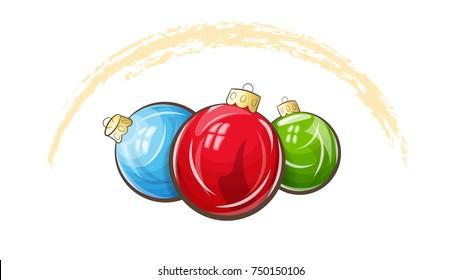 Die Vektorgrafik zeigt drei mehrfarbige Weihnachtsbälle. Weihnachtskarte