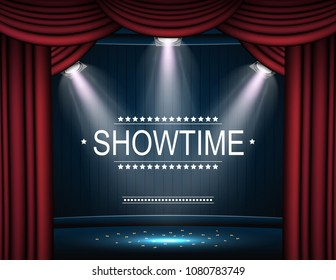 Vector illustration of Showtime background with curtain illuminated by spotlights