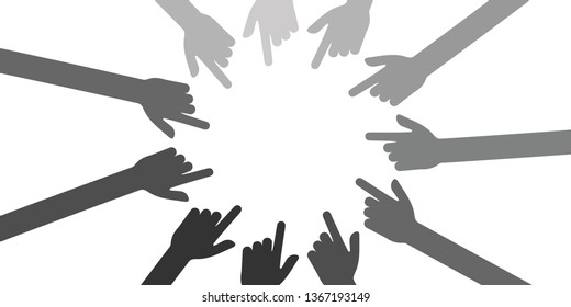 vector illustration of shy person and hands with pointing fingers for shame or bad attention concept