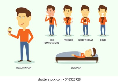 Vector illustration of sick and healthy man with ice-cream.  Symptom of high temperature, freeze, sore thoat, cold.