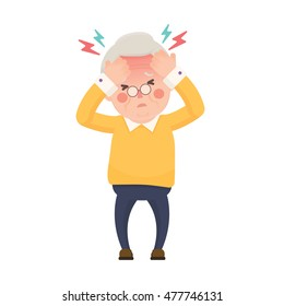 Vector Illustration of Sick Old Man Suffering from a Headache and High Temperature Holding Head in Hands. Cartoon Character.