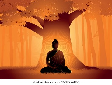 Vector illustration of Siddhartha Gautama enlightened under Bodhi tree, enlightenment of the Buddha under the Bodhi tree