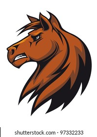 Vector illustration of the side view of a fierce looking brown stallion horse with a flowing mane baring his teeth