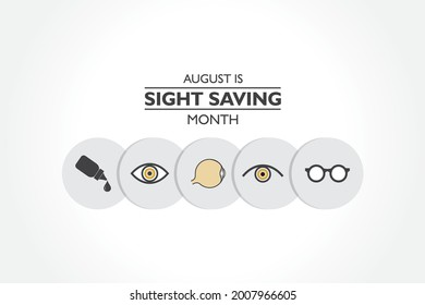 Vector Illustration of Sight Saving Month is observed in August, The celebration is to of protecting and taking good care of the eyes.