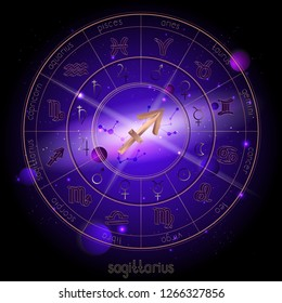 Vector illustration of sign and constellation SAGITTARIUS and Horoscope circle with astrology pictograms against the space background with planets and stars. Sacred symbols in gold and purple colors.