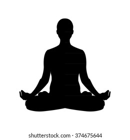 Vector Illustration The Sign Of A Man Or Woman Silhouette Meditating Practicing Yoga