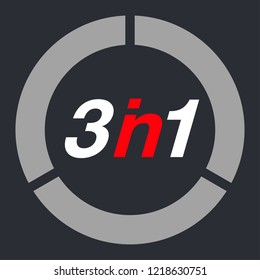 "Vector Illustration Sign Numbers ""three in one"" Isolated on White background. Figures 3 in 1 icon. Vector banner with three and one numeral"