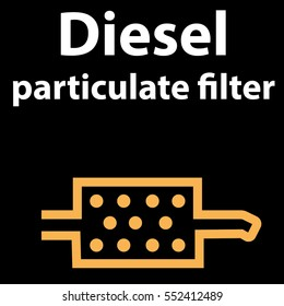 Vector illustration of a sign on the car dashboard on a black background. The icon indicates a warning of the diesel particulate filter. DTC pictogram EPS 10 - icon