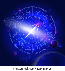 Vector illustration of sign SAGITTARIUS with Horoscope circle against the space background with planets and stars. Sacred symbols in blue colors.