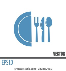 vector illustration sign with spoon, fork and knife