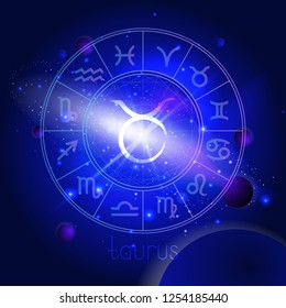 Vector illustration of sign TAURUS with Horoscope circle against the space background with planets and stars. Sacred symbols in blue colors.
