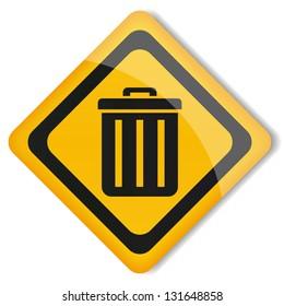 Vector illustration sign trashcan