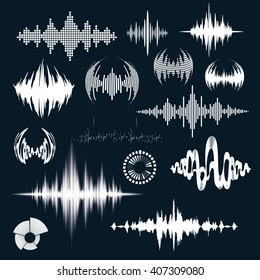 Vector illustration of the signal wave graphic sound. Design for logo. audio equalizer technology. Sound waves set art