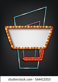 Vector illustration of Signboard retro style with lamps. Vintage banner with light bulbs