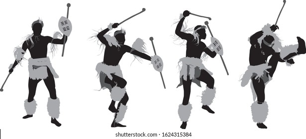Vector illustration of a silhouette of a african zulu warrior dancing in traditional clothing