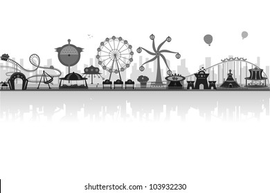 vector illustration of silhouette of amusement park