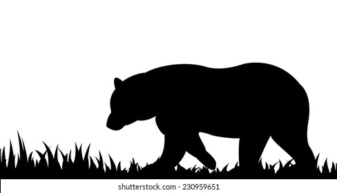 Vector illustration the silhouette of bear in the grass.