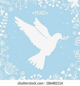 vector illustration silhouette beautiful dove of peace
