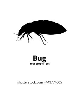 Vector illustration silhouette bed bug isolated on white background. Bedbug side view profile. The insect lives in the house.
