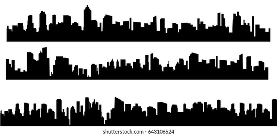 Vector, illustration, silhouette of big cities set