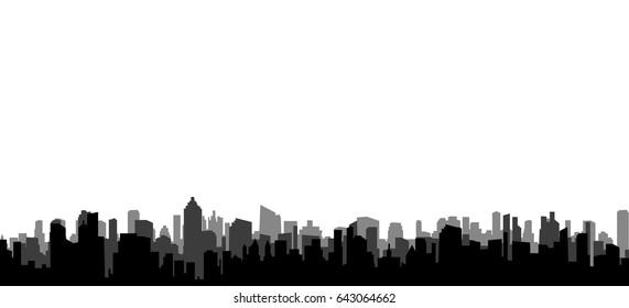 Vector, illustration, silhouette of big city