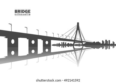 Vector illustration: Silhouette of  Bridge with city.