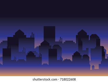 Vector Illustration : Silhouette Building Background