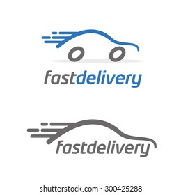 vector illustration silhouette of the car with wheels, logo for fast delivery transportation or taxi company