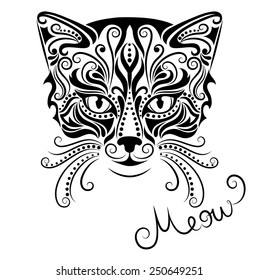 Vector illustration of silhouette of cat's head on a white background.