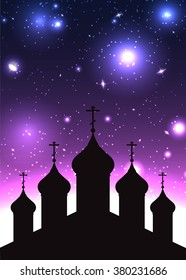 Vector illustration of the silhouette of church in starry background for greeting cards, invitations, and your design