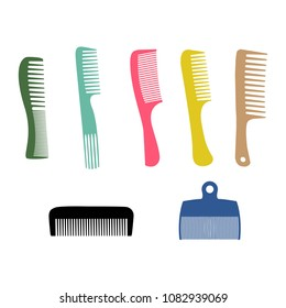 Vector illustration. Silhouette combs set, barber comb, colour plastic comb.