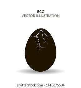 Vector illustration. Silhouette of cracked chicken egg