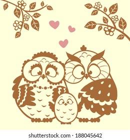 vector illustration silhouette cute cartoon family owls